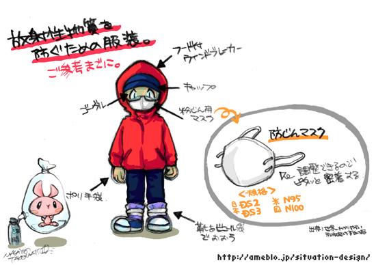 放射性物質を防ぐための服装。